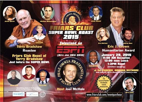 Friar's Club Super Bowl Party Roast Terry Bradshaw 2015 Tickets