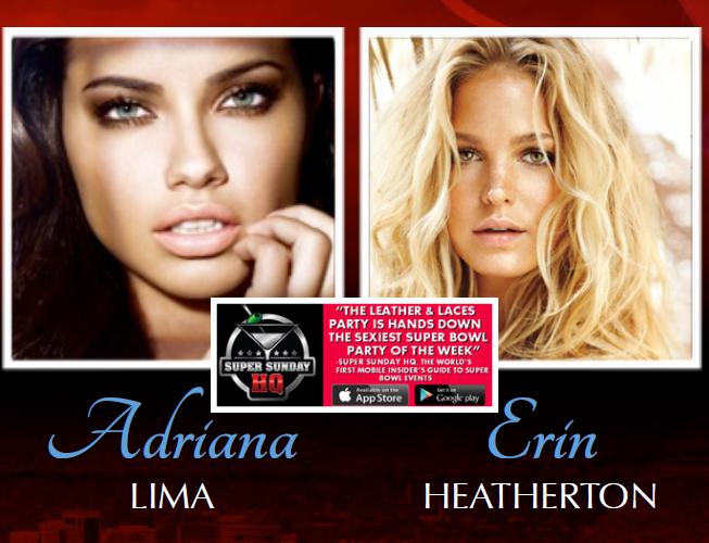 Leather and Laces Victorias Secret Super Bowl Party Adriana Lima Erin Heatherton