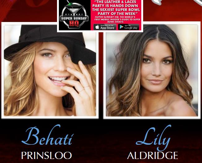 Leather and Laces Victorias Secret Super Bowl Party Behati Prinsloo Lily Aldridge
