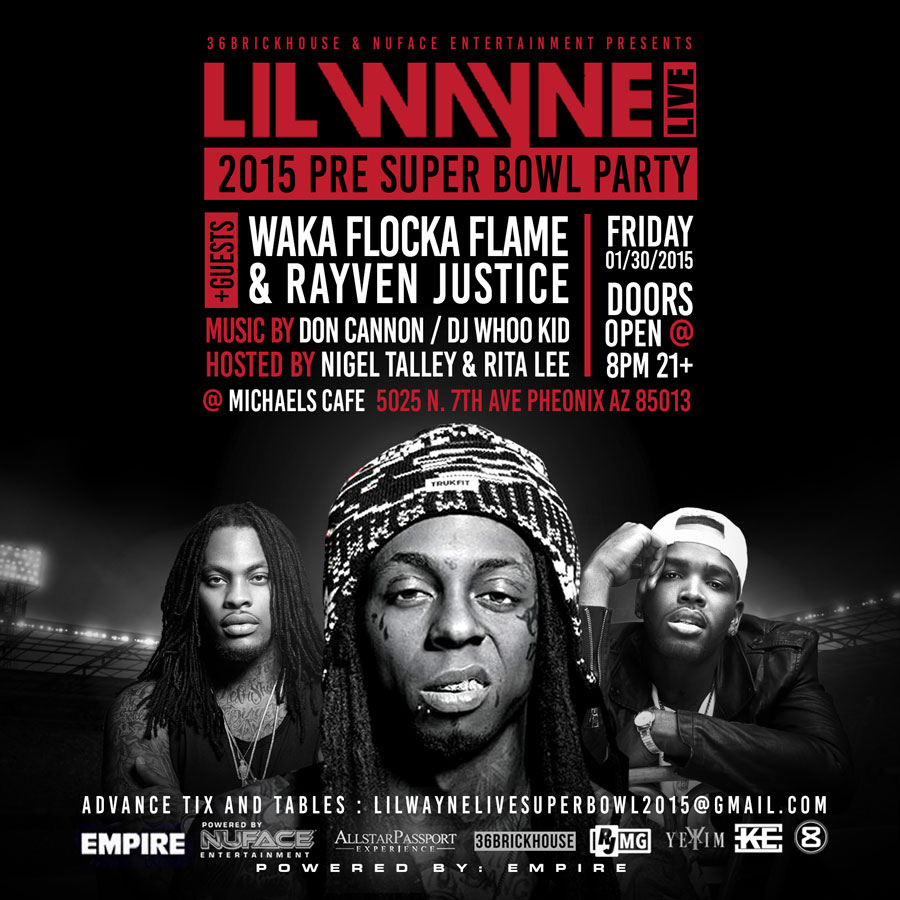 Lil Wayne Super Bowl Party 2015 Arizona Waka Flocka Flame