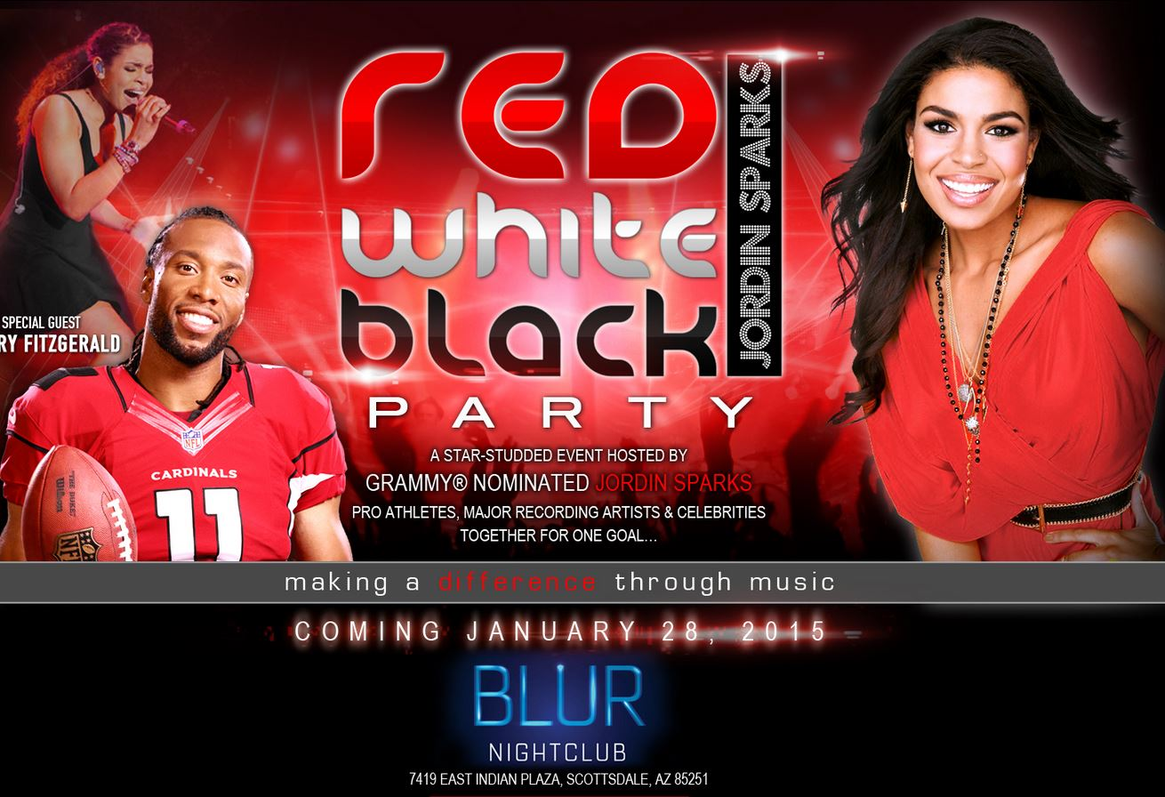 Jordin Sparks Red White Black Super Bowl Party