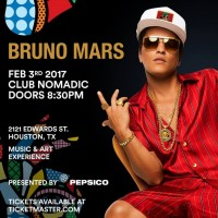 Bruno Mars Houston Super Bowl Party Club Nomadic 2017 Tickets SB 51