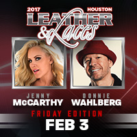 Leather & Laces Super Bowl Party Houston 2017 Donnie Wahlberg and Jenny McCarthy SB51