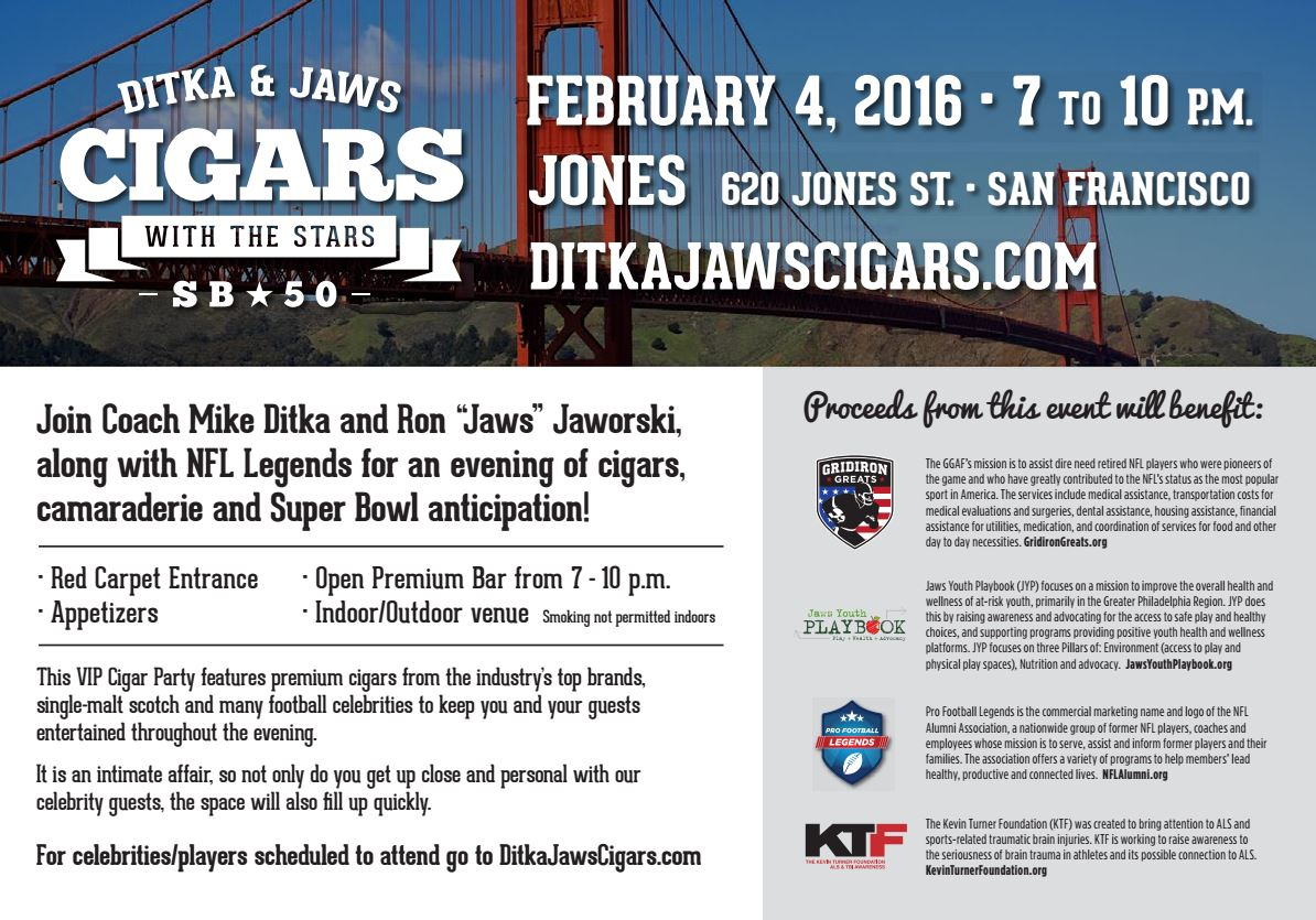Ditka & Jaws Cigars with the Stars Super Bowl 50 Party 2016 San Francisco SF Bay Area 2