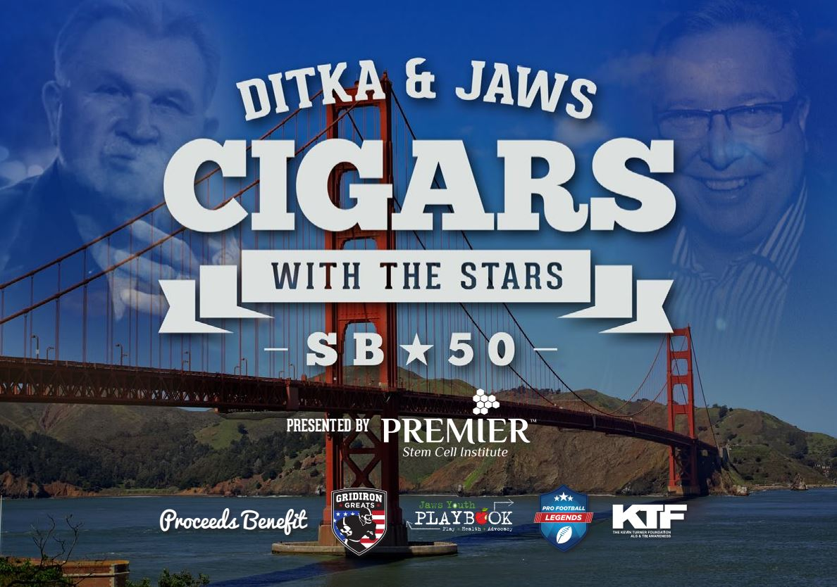 Ditka & Jaws Cigars with the Stars Super Bowl 50 Party 2016 San Francisco SF Bay Area