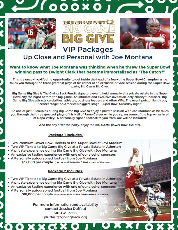 Big Game Big Give Super Bowl Party - Up Close and Personal with Joe Montana