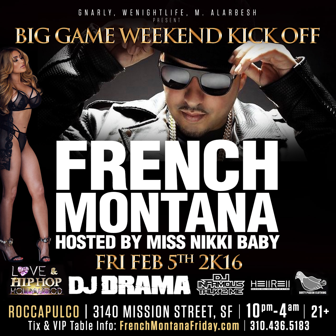 French Montana Super Bowl Party 2016 SF