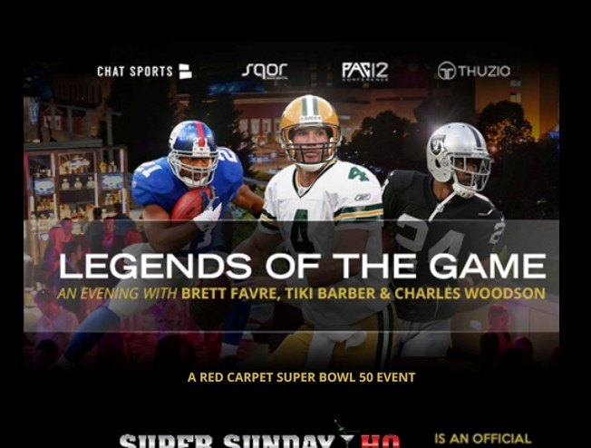 Legends of The Game Super Bowl Party Brett Favre Charles Woodson Tiki Barber edited