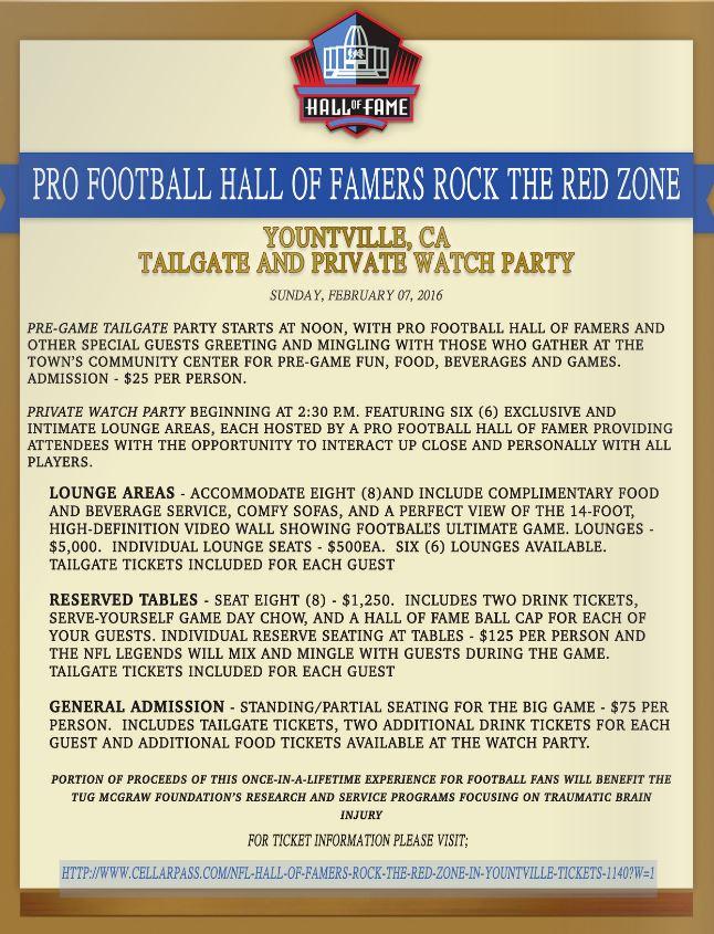 Pro Football HOF Yountville Tickets