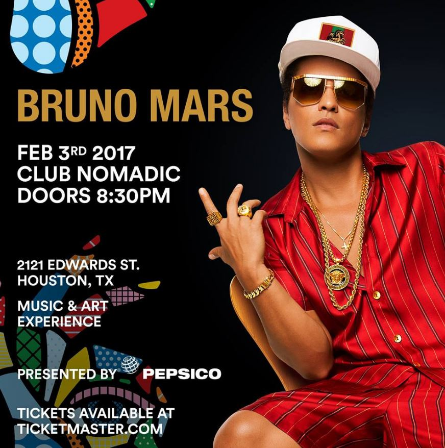 Bruno Mars Houston Super Bowl Party Club Nomadic 2017 Tickets