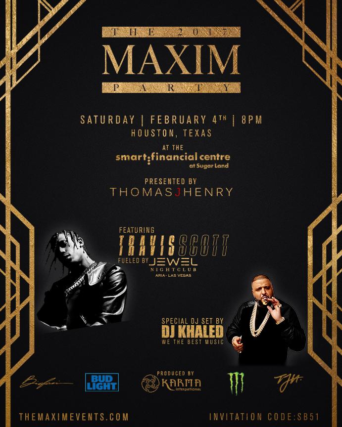 Maxim Super Bowl Party DJ Khaled Travis Scott Houston 2017