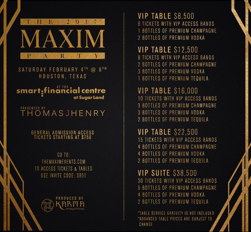 Maxim Super Bowl Party Table Prices 2017 Houston