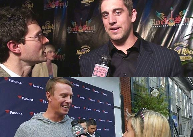 Aaron Rodgers Matt Ryan Fanatics Super Bowl Party Interview Green Bay Packers Atlanta Falcons