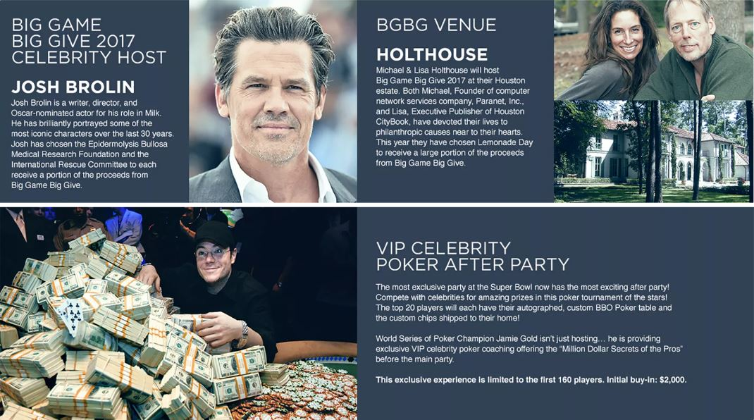 Big Game Big Give 2017 Houston Super Bowl Party Tickets Josh Brolin Poker