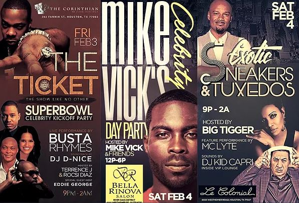 Busta Rhymes Mike Vick Terrence J Rocsi Diaz Houston Super Bowl Party 2017
