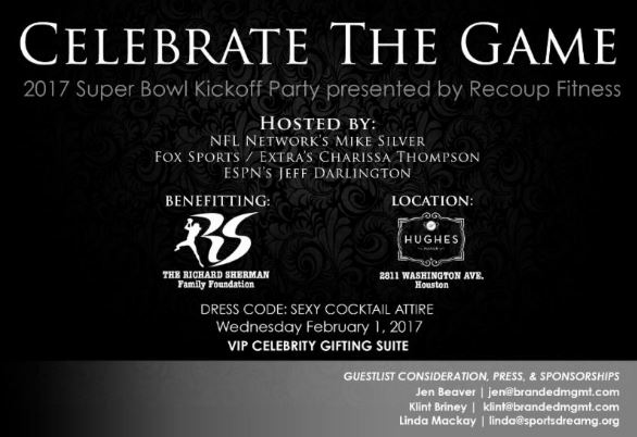 Celebrate the Game Richard Sherman Foundation Super Bowl Party Mike Silver Charissa Thompson