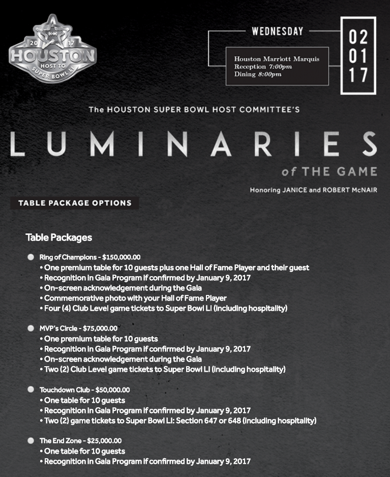 Luminaries of the Game Super Bowl Party Houston 2017 Tickets