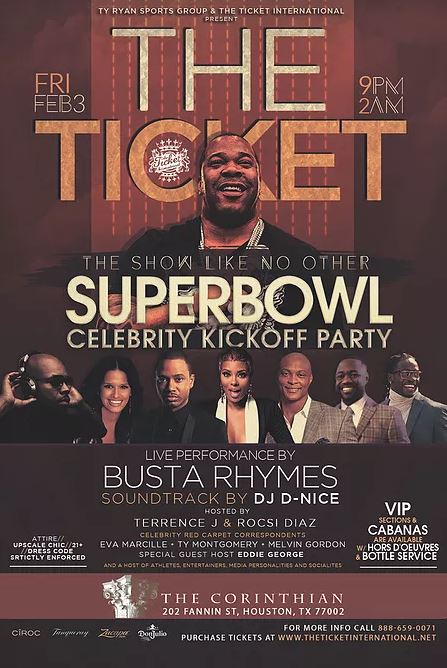 The Ticket International Super Bowl Parties Houston 2017 Busta Rhymes
