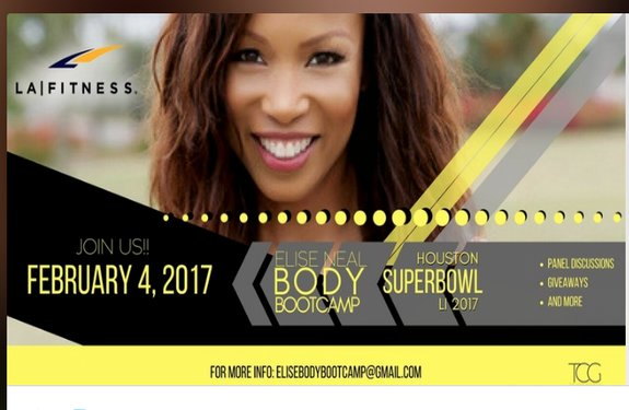 elise neal body bootcamp at la fitness x super bowl li event